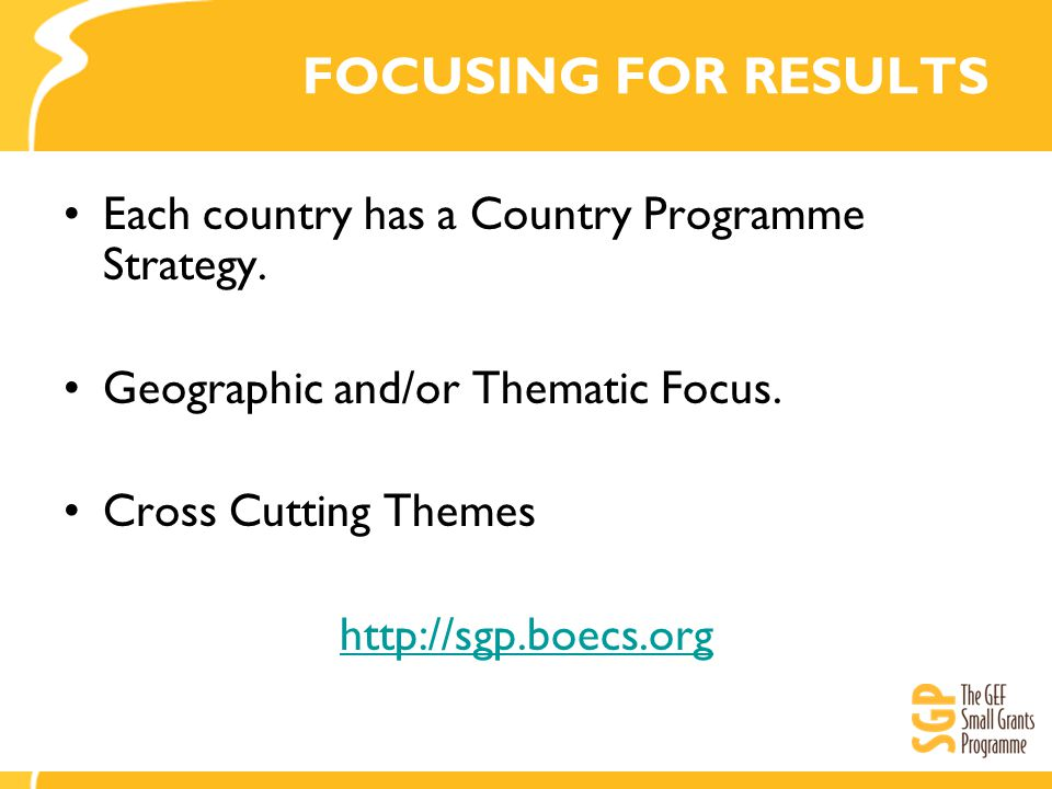 FOCUSING FOR RESULTS Each country has a Country Programme Strategy.