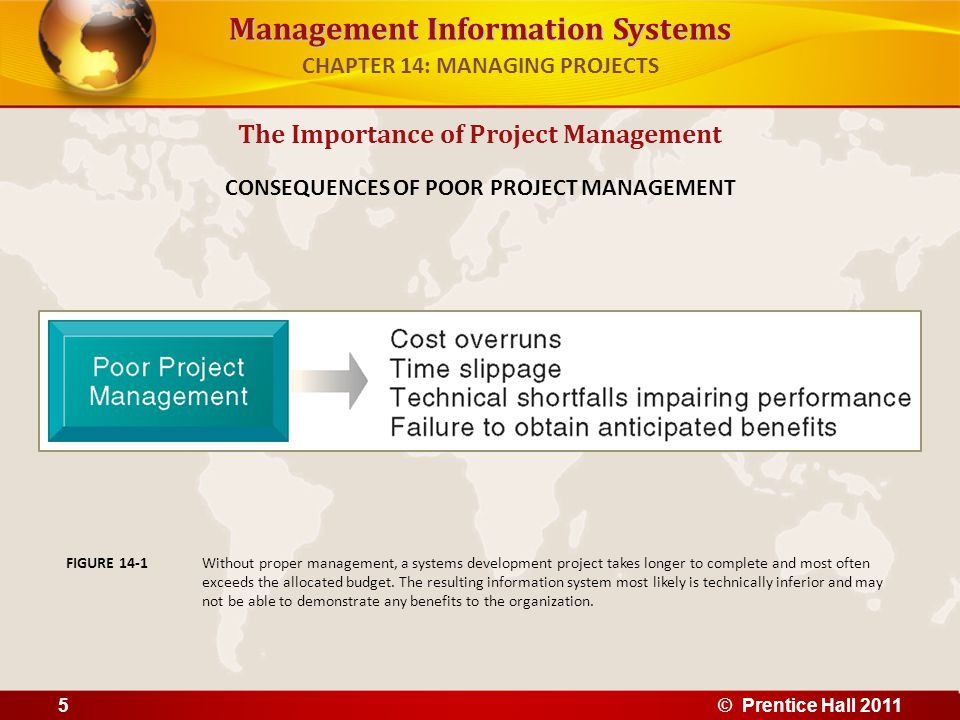Management Information Systems Information system costs and benefits – Tangible benefits: Can be quantified and assigned monetary value Systems that displace labor and save space: – Transaction and clerical systems – Intangible benefits: Cannot be immediately quantified but may lead to quantifiable gains in the long run – E.g., more efficient customer service, enhanced decision making Systems that influence decision making: – ESS, DSS, collaborative work systems Establishing the Business Value of Information Systems CHAPTER 14: MANAGING PROJECTS © Prentice Hall 201116