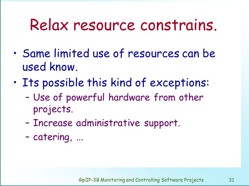 GpiIP-3B Monitoring and Controlling Software Projects31 Relax resource constrains.