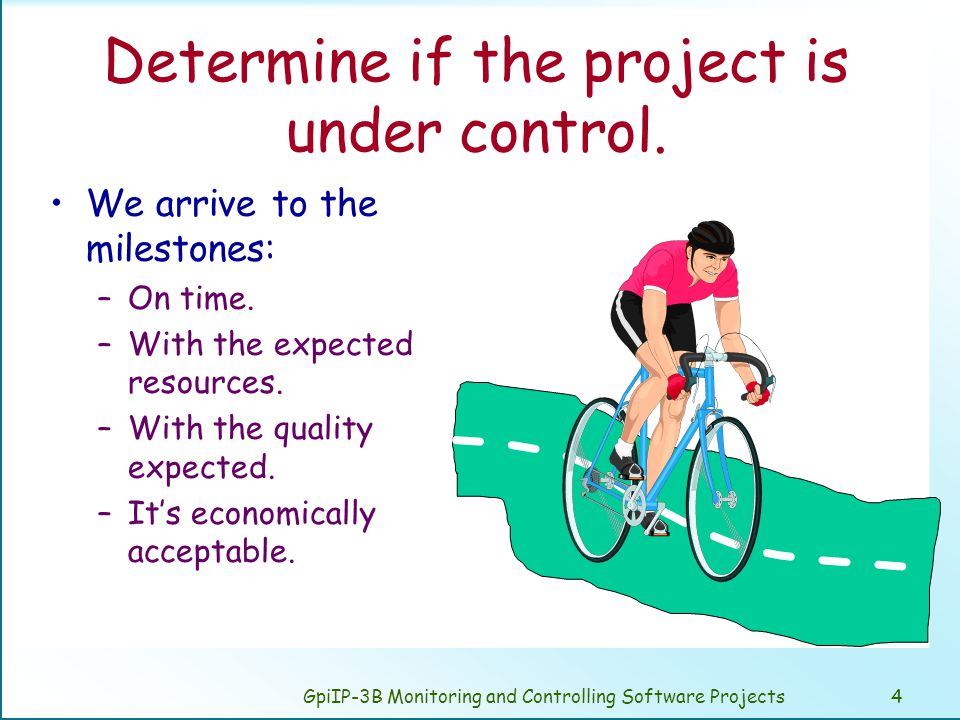 GpiIP-3B Monitoring and Controlling Software Projects4 Determine if the project is under control.