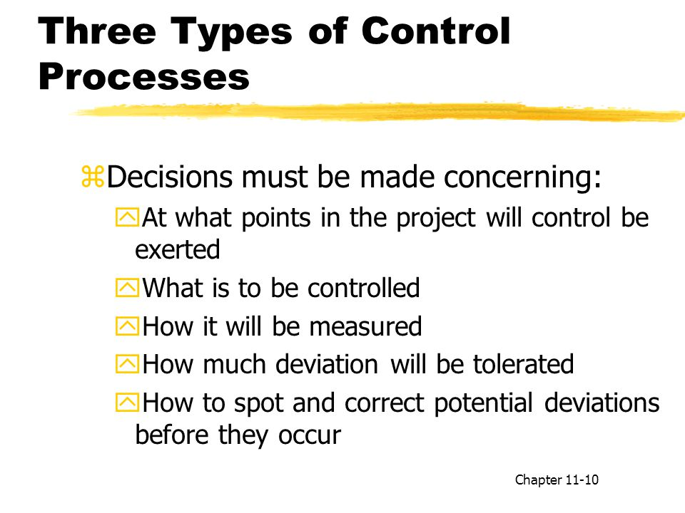Three Types of Control Processes zDecisions must be made concerning: yAt what points in the project will control be exerted yWhat is to be controlled yHow it will be measured yHow much deviation will be tolerated yHow to spot and correct potential deviations before they occur Chapter 11-10