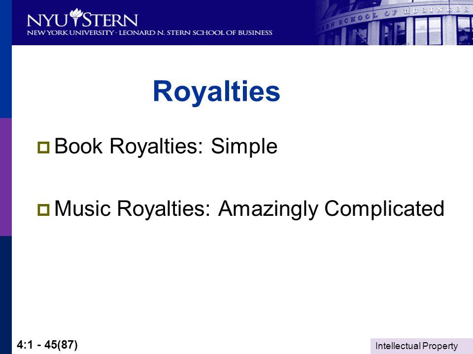 Intellectual Property 4:1 - 45(87) Royalties  Book Royalties: Simple  Music Royalties: Amazingly Complicated