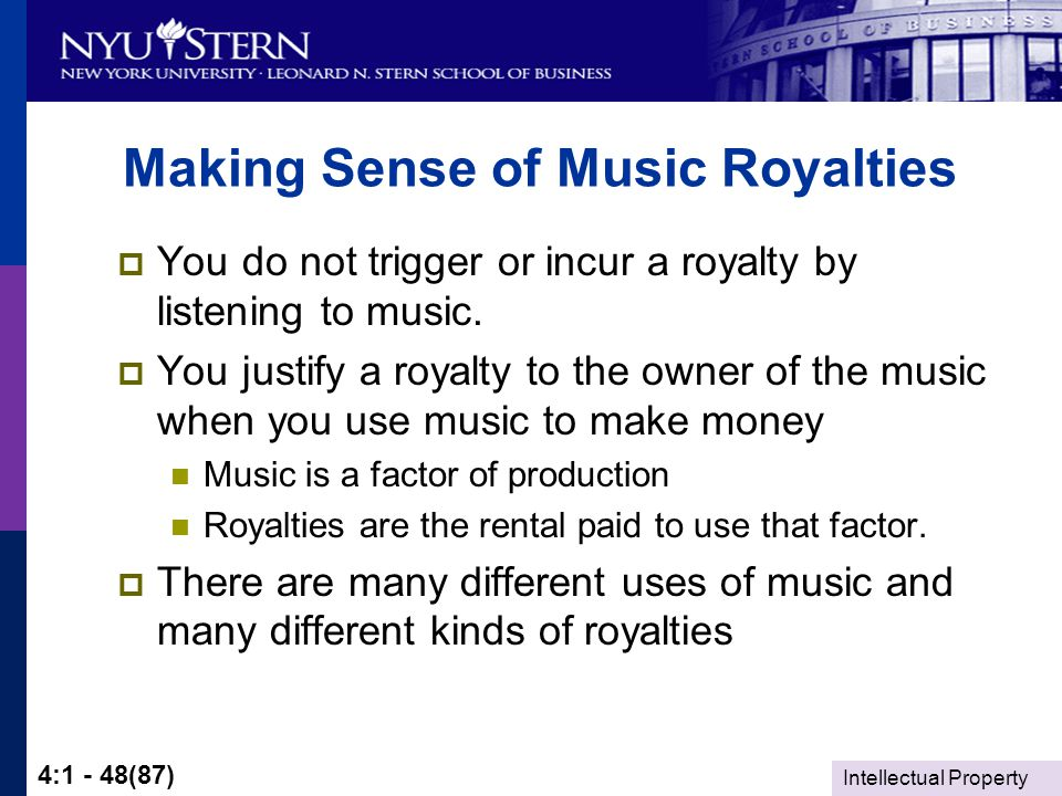 Intellectual Property 4:1 - 48(87) Making Sense of Music Royalties  You do not trigger or incur a royalty by listening to music.