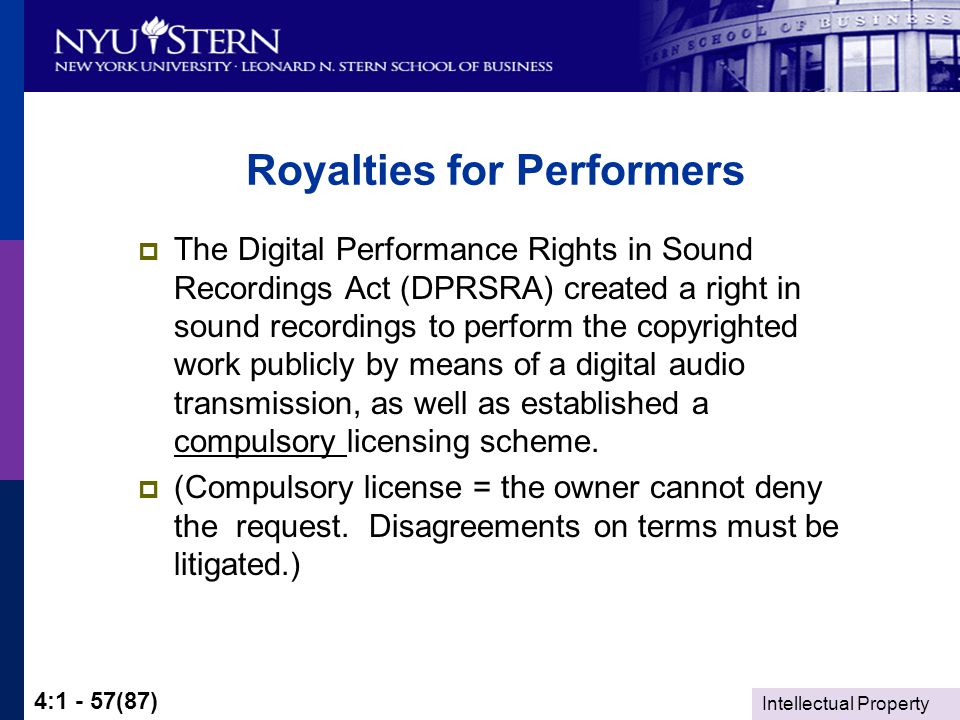 Intellectual Property 4:1 - 57(87) Royalties for Performers  The Digital Performance Rights in Sound Recordings Act (DPRSRA) created a right in sound recordings to perform the copyrighted work publicly by means of a digital audio transmission, as well as established a compulsory licensing scheme.