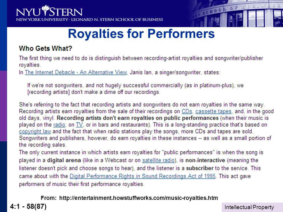 Intellectual Property 4:1 - 58(87) Royalties for Performers From: http://entertainment.howstuffworks.com/music-royalties.htm