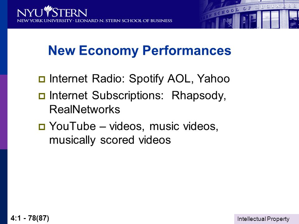 Intellectual Property 4:1 - 78(87) New Economy Performances  Internet Radio: Spotify AOL, Yahoo  Internet Subscriptions: Rhapsody, RealNetworks  YouTube – videos, music videos, musically scored videos