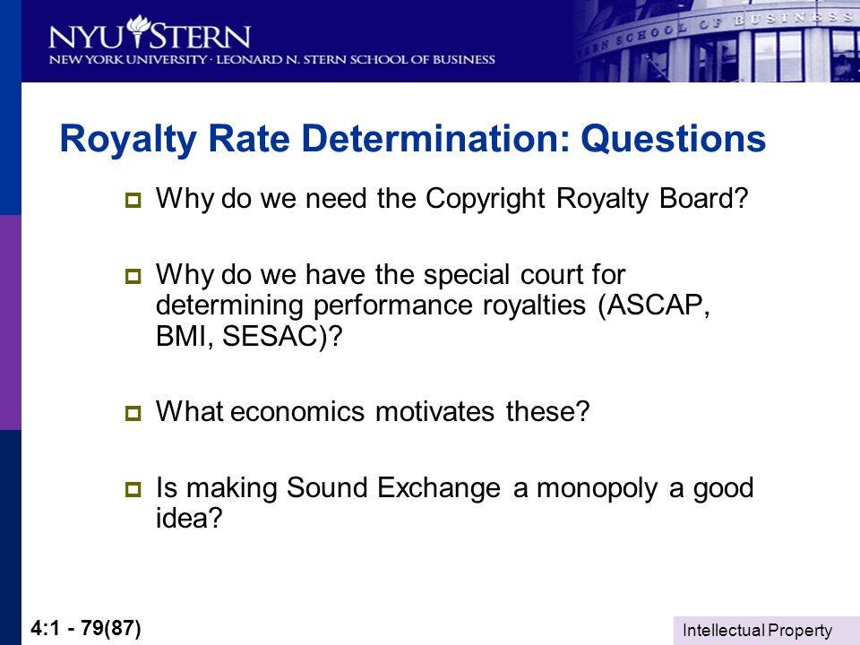 Intellectual Property 4:1 - 79(87) Royalty Rate Determination: Questions  Why do we need the Copyright Royalty Board.