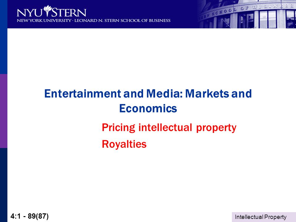 Intellectual Property 4:1 - 89(87) Entertainment and Media: Markets and Economics Pricing intellectual property Royalties