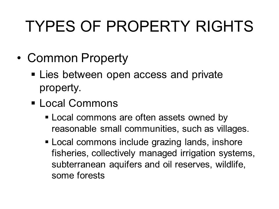TYPES OF PROPERTY RIGHTS Common Property  Lies between open access and private property.