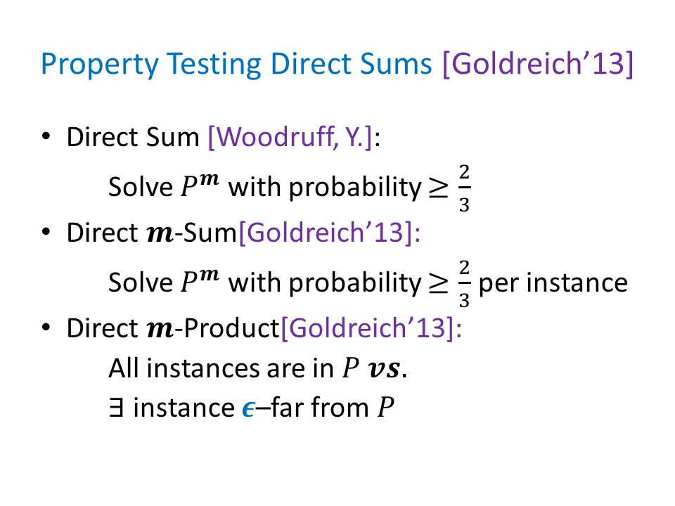 Property Testing Direct Sums [Goldreich'13]