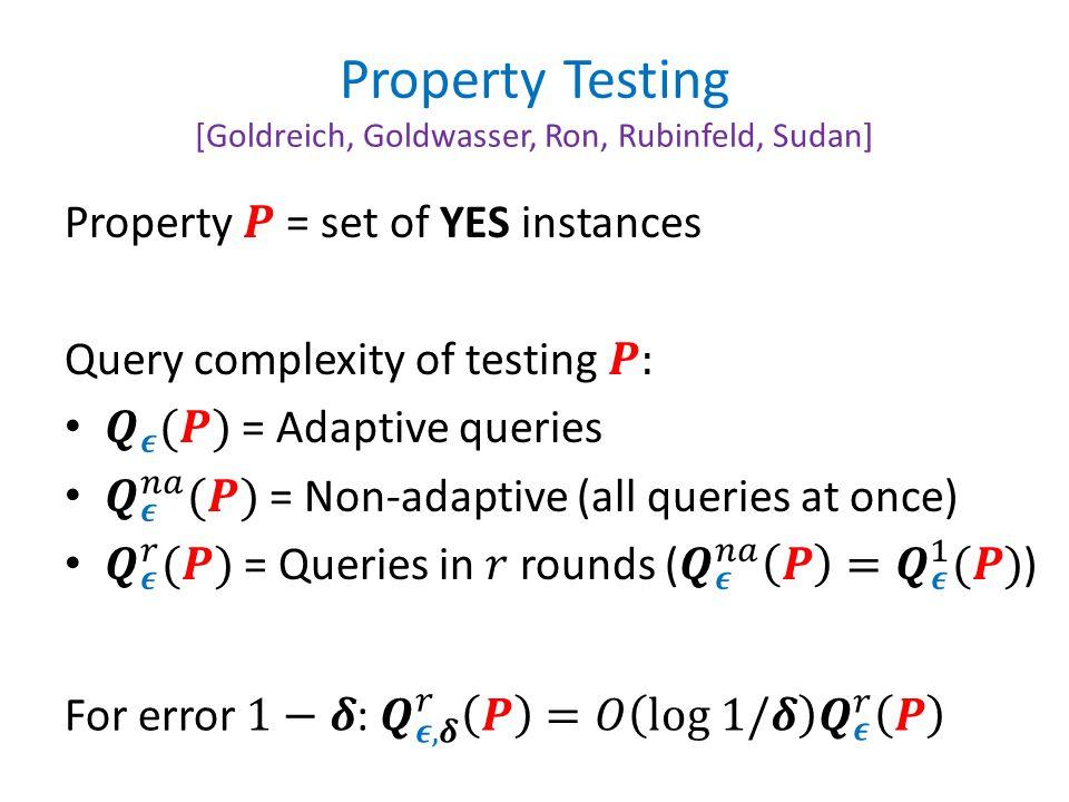 Property Testing [Goldreich, Goldwasser, Ron, Rubinfeld, Sudan]
