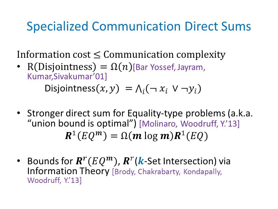 Specialized Communication Direct Sums