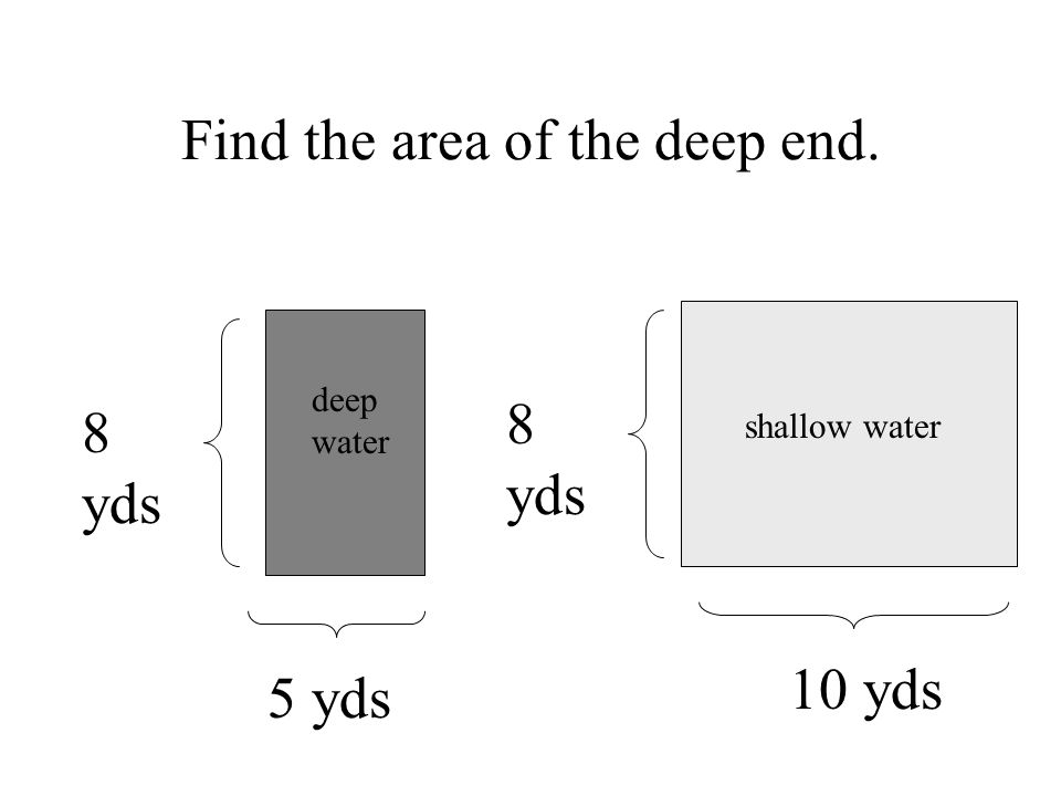 shallow water deep water 8 yds 5 yds 10 yds 8 yds Find the area of the deep end.