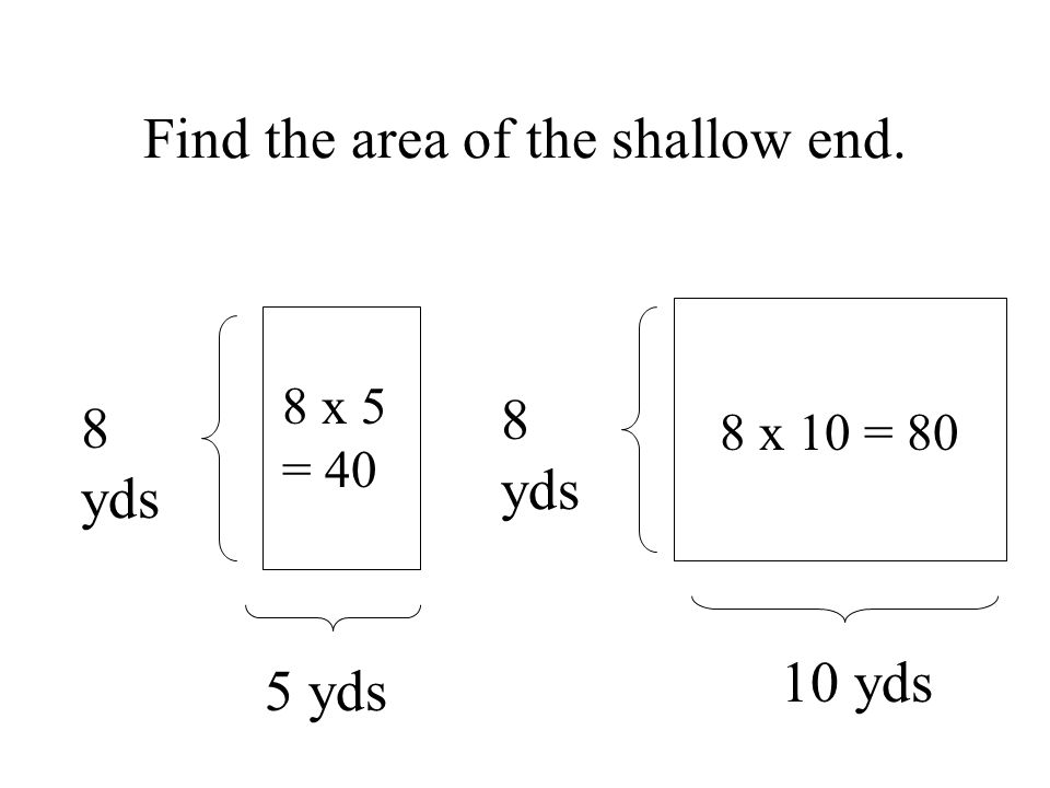 8 x 10 = 80 8 x 5 = 40 8 yds 5 yds 10 yds 8 yds Find the area of the shallow end.