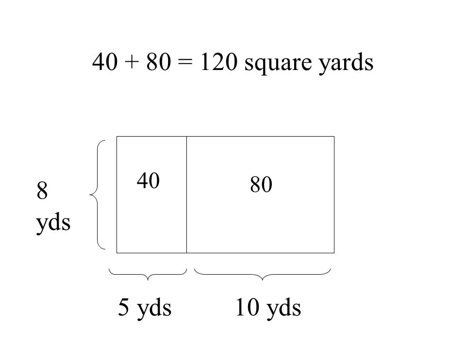 yds 5 yds 10 yds = 120 square yards