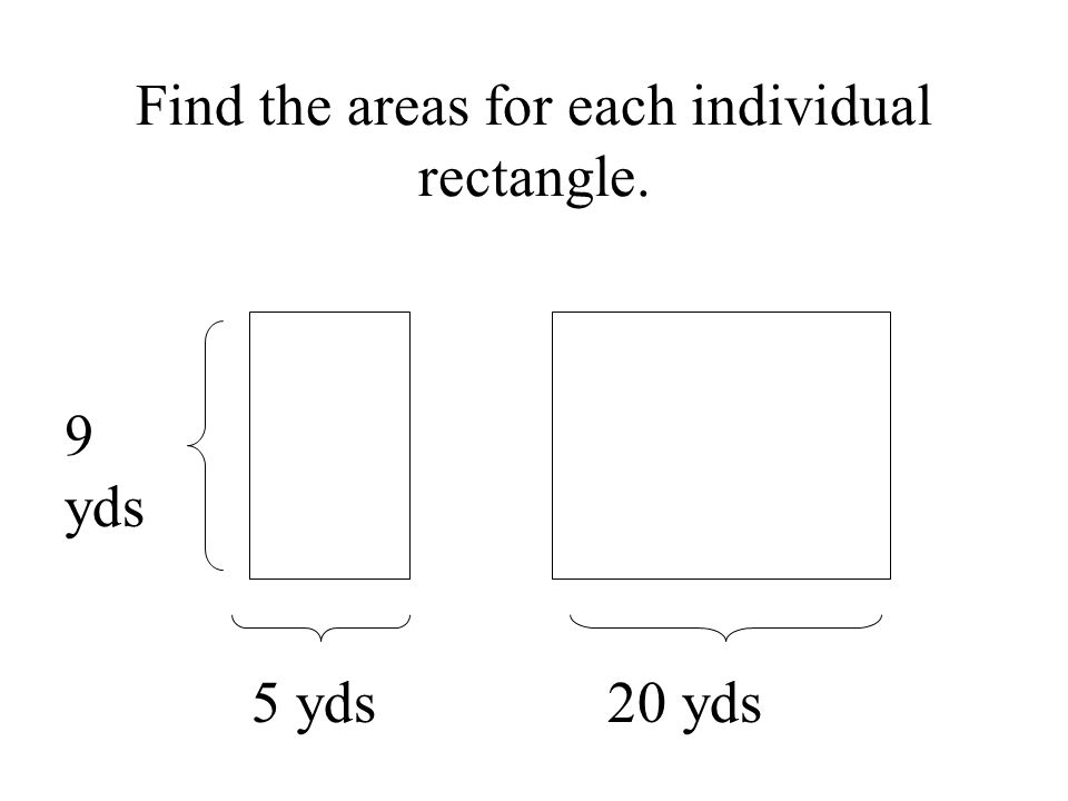 Find the areas for each individual rectangle. 9 yds 5 yds 20 yds