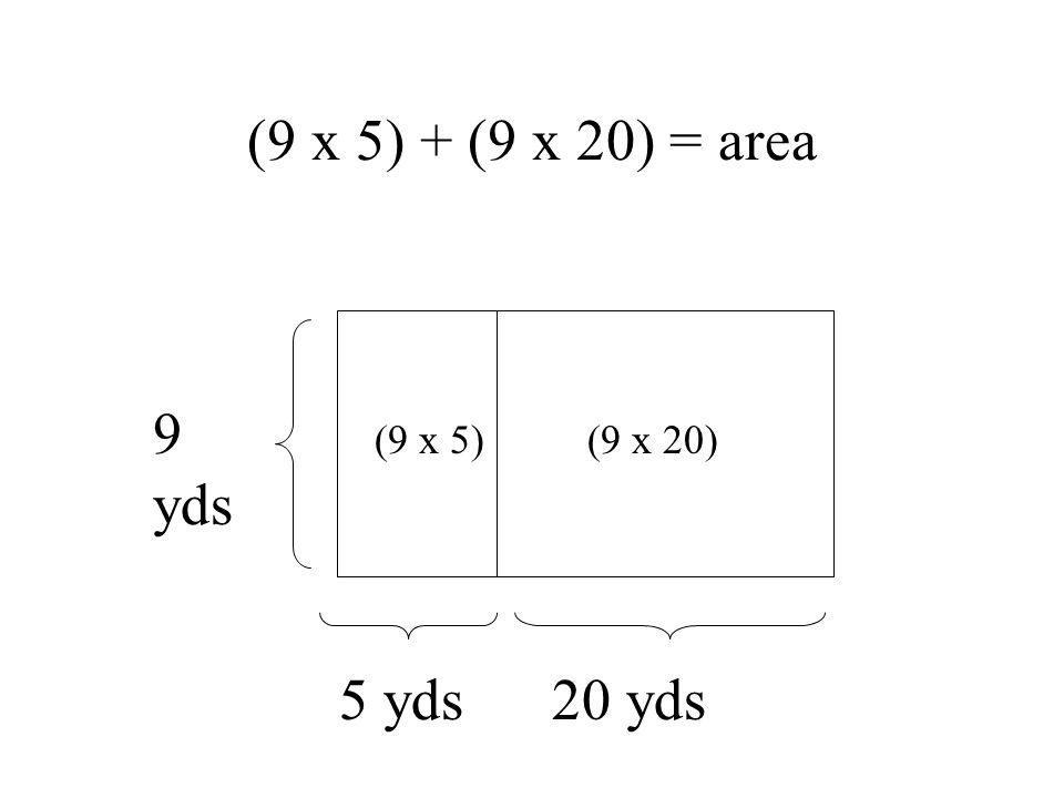 (9 x 5) + (9 x 20) = area 9 yds 5 yds 20 yds (9 x 5)(9 x 20)