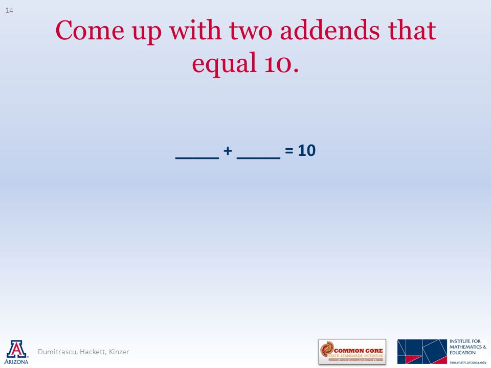 Come up with two addends that equal 10. _____ + _____ = 10 Dumitrascu, Hackett, Kinzer 14