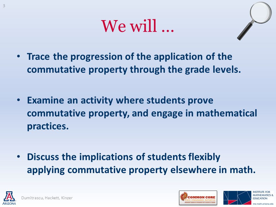 We will … Trace the progression of the application of the commutative property through the grade levels. Examine an activity where students prove comm