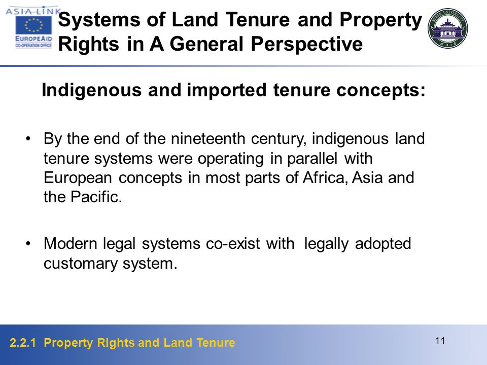 2.2.1 Property Rights and Land Tenure 11 By the end of the nineteenth century, indigenous land tenure systems were operating in parallel with European concepts in most parts of Africa, Asia and the Pacific.