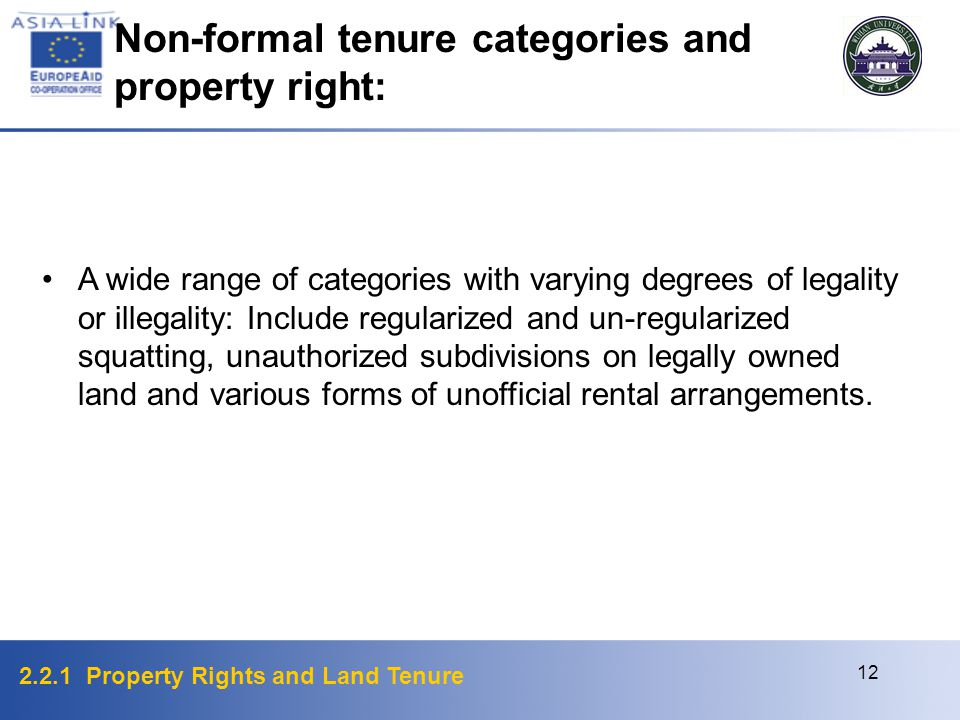 2.2.1 Property Rights and Land Tenure 12 A wide range of categories with varying degrees of legality or illegality: Include regularized and un-regularized squatting, unauthorized subdivisions on legally owned land and various forms of unofficial rental arrangements.