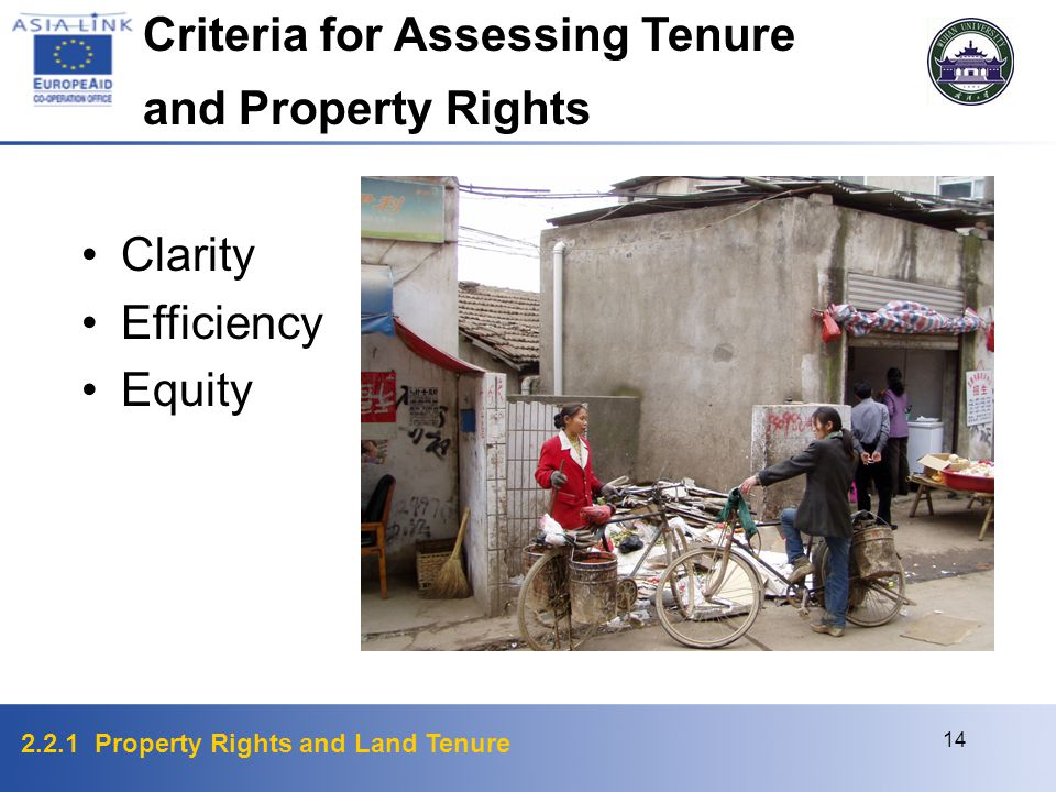 2.2.1 Property Rights and Land Tenure 14 Clarity Efficiency Equity Criteria for Assessing Tenure and Property Rights