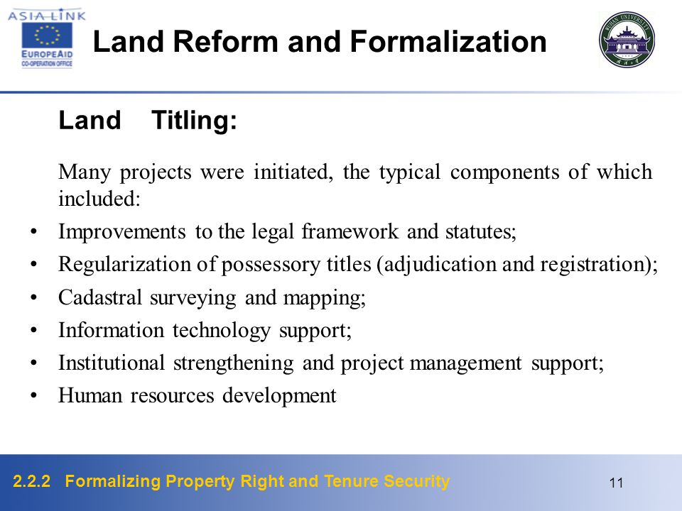 2.2.2 Formalizing Property Right and Tenure Security 11 Land Titling: Many projects were initiated, the typical components of which included: Improvements to the legal framework and statutes; Regularization of possessory titles (adjudication and registration); Cadastral surveying and mapping; Information technology support; Institutional strengthening and project management support; Human resources development Land Reform and Formalization