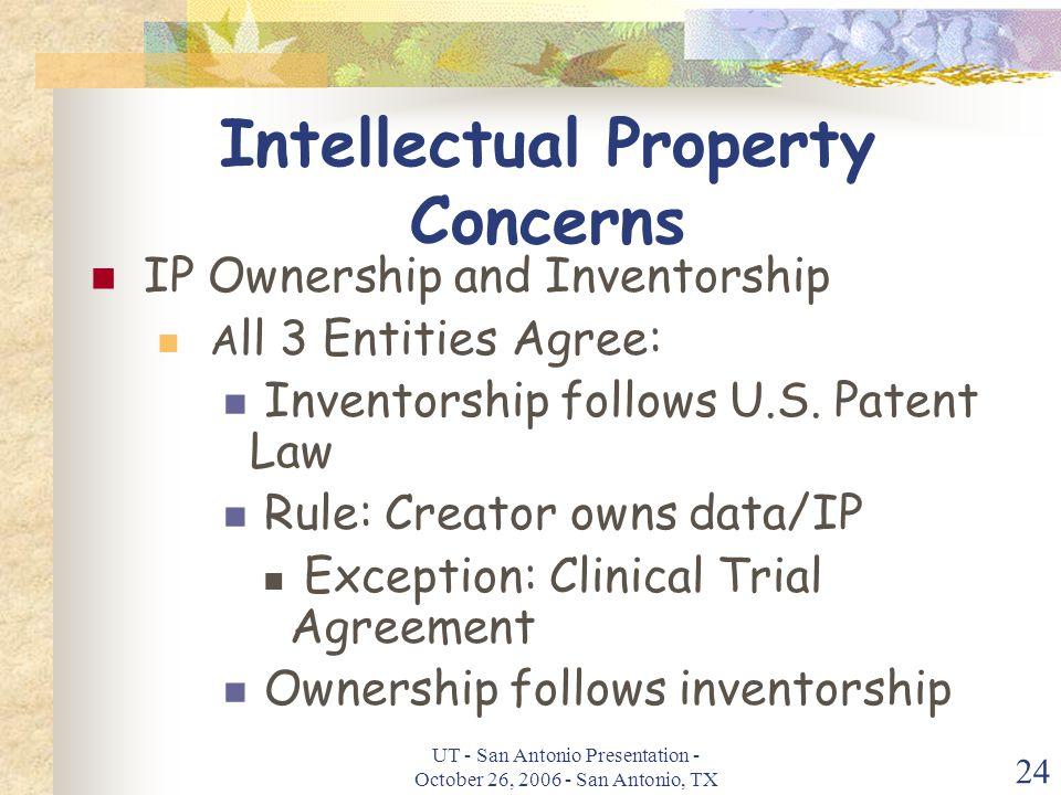UT - San Antonio Presentation - October 26, 2006 - San Antonio, TX 24 Intellectual Property Concerns IP Ownership and Inventorship A ll 3 Entities Agree: Inventorship follows U.S.