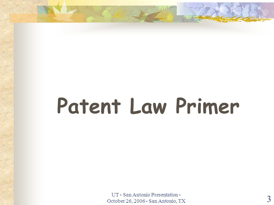 UT - San Antonio Presentation - October 26, 2006 - San Antonio, TX 3 Patent Law Primer