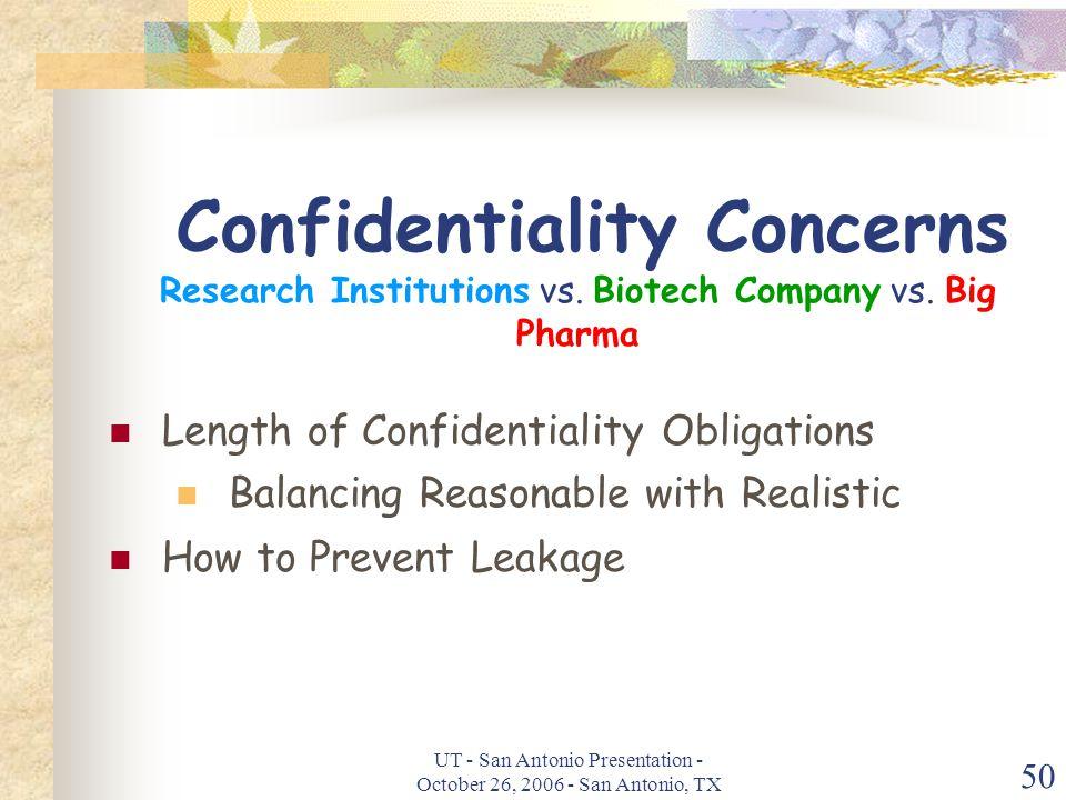 UT - San Antonio Presentation - October 26, 2006 - San Antonio, TX 50 Confidentiality Concerns Research Institutions vs.