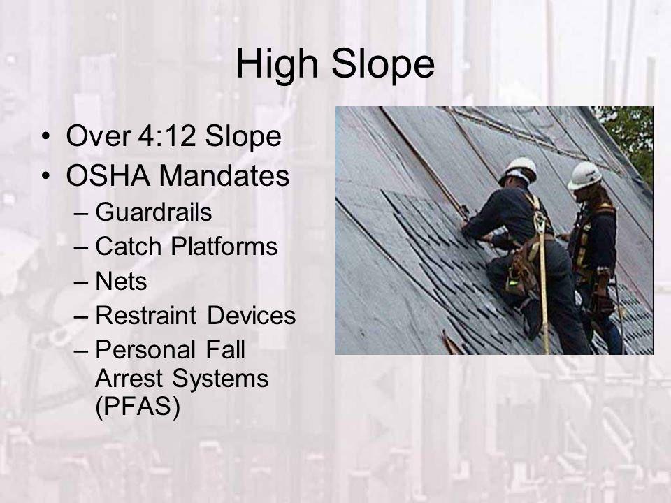 High Slope Over 4:12 Slope OSHA Mandates –Guardrails –Catch Platforms –Nets –Restraint Devices –Personal Fall Arrest Systems (PFAS)
