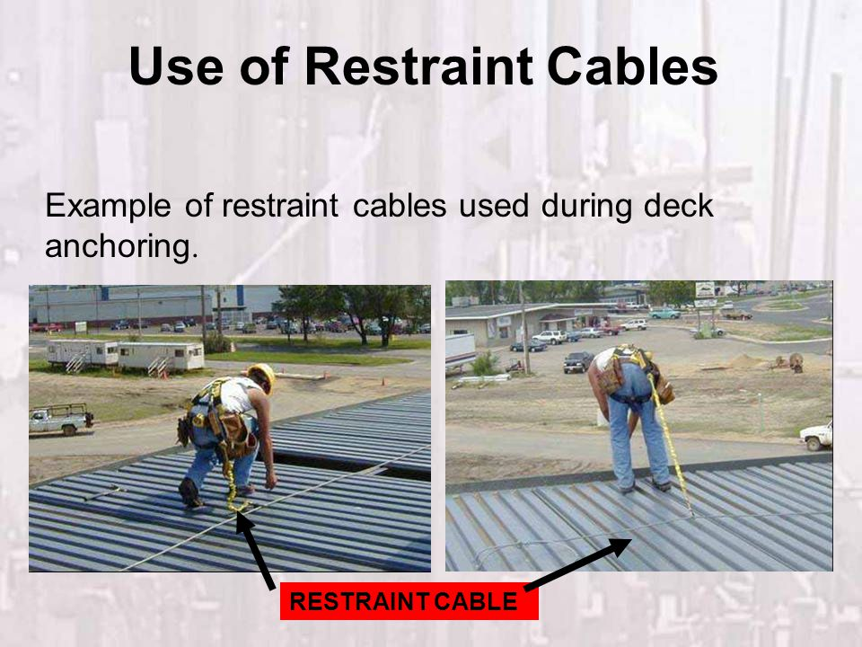 Use of Restraint Cables RESTRAINT CABLE Example of restraint cables used during deck anchoring.