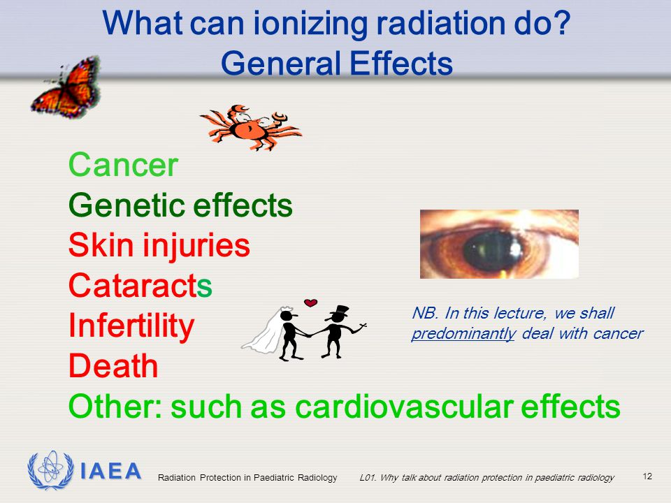 IAEA Radiation Protection in Paediatric RadiologyL01. Why talk about radiation protection in paediatric radiology 12 Cancer Genetic effects Skin injur