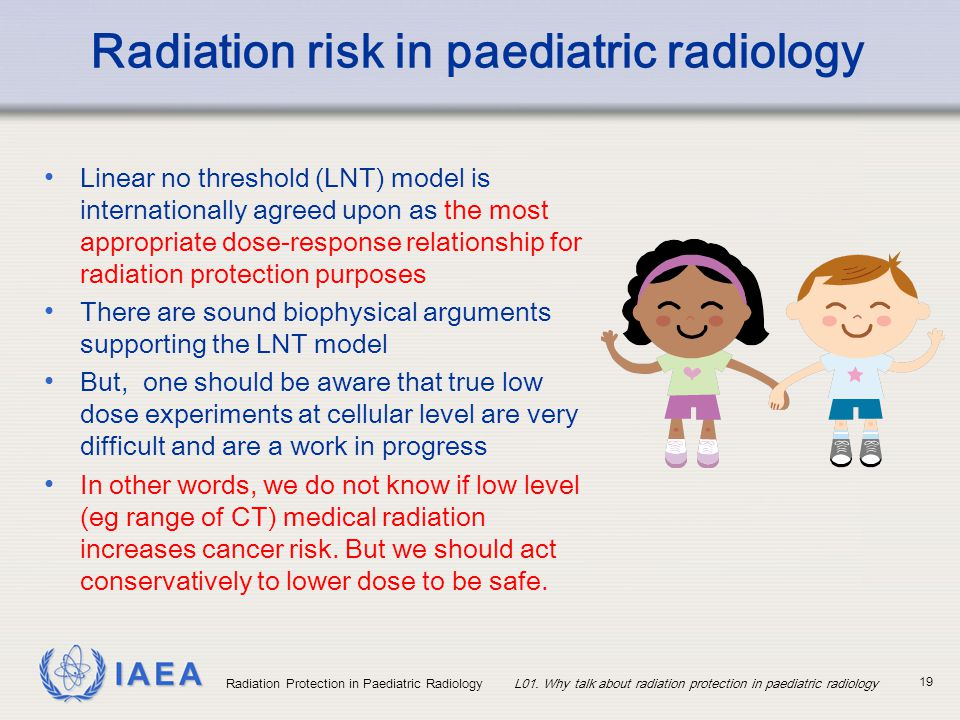 IAEA Radiation Protection in Paediatric RadiologyL01. Why talk about radiation protection in paediatric radiology 19 Radiation risk in paediatric radi