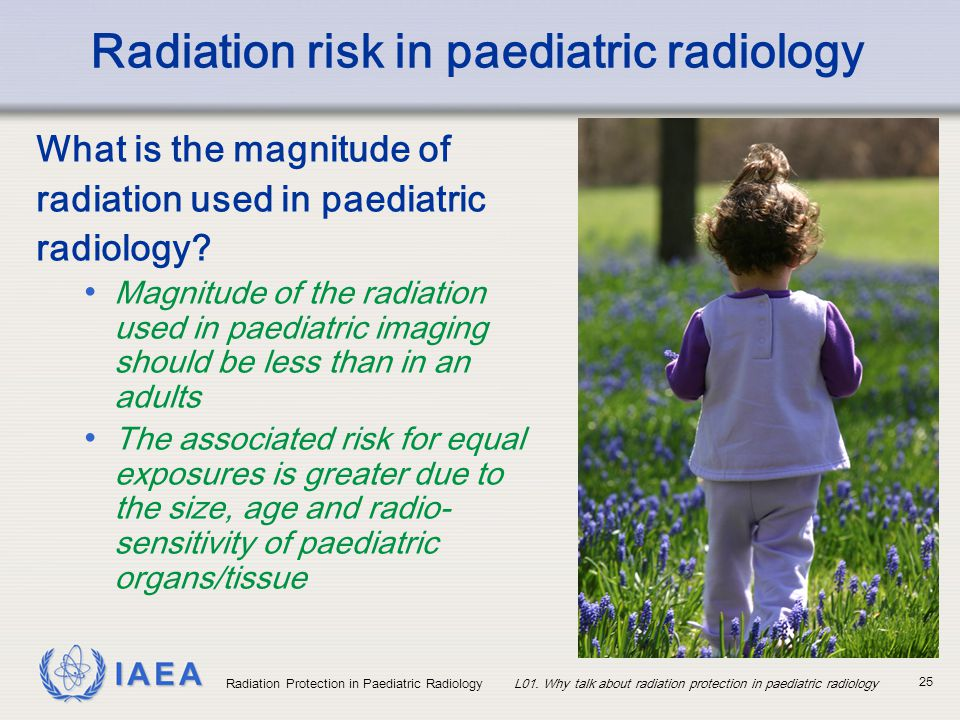 IAEA Radiation Protection in Paediatric RadiologyL01. Why talk about radiation protection in paediatric radiology 25 Radiation risk in paediatric radi