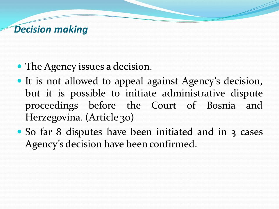 Decision making The Agency issues a decision.
