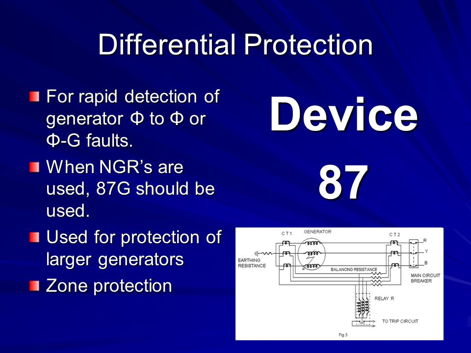 Differential Protection For rapid detection of generator Φ to Φ or Φ-G faults.