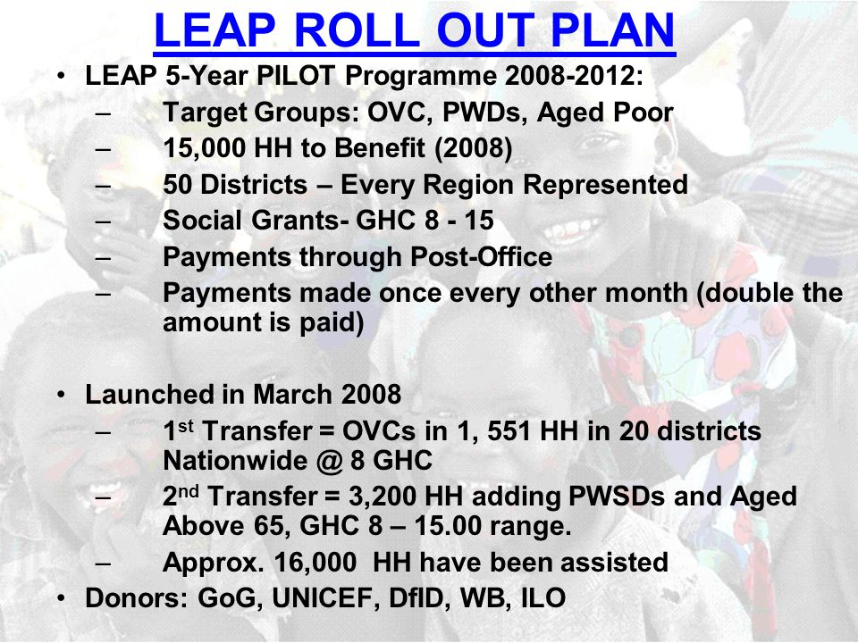LEAP ROLL OUT PLAN LEAP 5-Year PILOT Programme : –Target Groups: OVC, PWDs, Aged Poor –15,000 HH to Benefit (2008) –50 Districts – Every Region Represented –Social Grants- GHC –Payments through Post-Office –Payments made once every other month (double the amount is paid) Launched in March 2008 –1 st Transfer = OVCs in 1, 551 HH in 20 districts 8 GHC –2 nd Transfer = 3,200 HH adding PWSDs and Aged Above 65, GHC 8 – range.