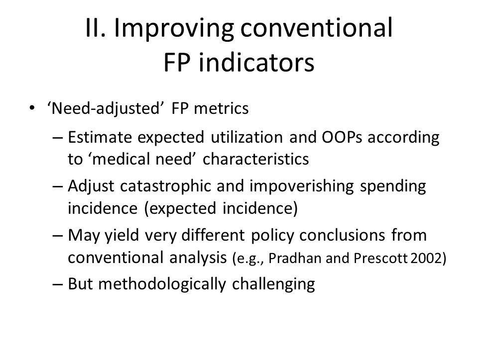 II. Improving conventional FP indicators 'Need-adjusted' FP metrics – Estimate expected utilization and OOPs according to 'medical need' characteristi