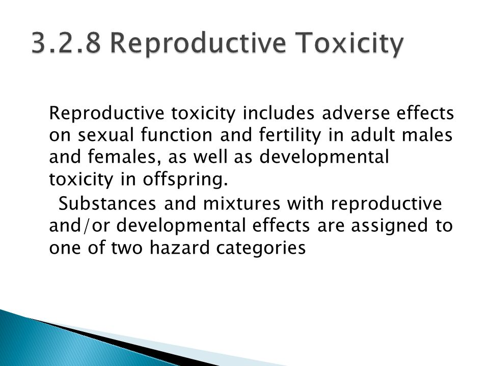Reproductive toxicity includes adverse effects on sexual function and fertility in adult males and females, as well as developmental toxicity in offspring.