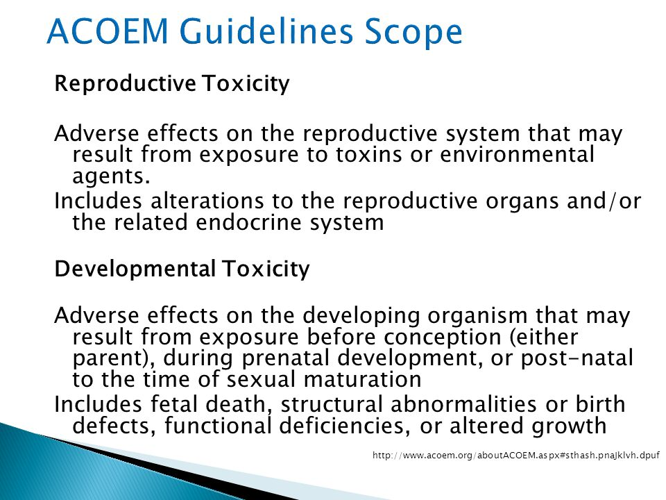 Reproductive Toxicity Adverse effects on the reproductive system that may result from exposure to toxins or environmental agents.