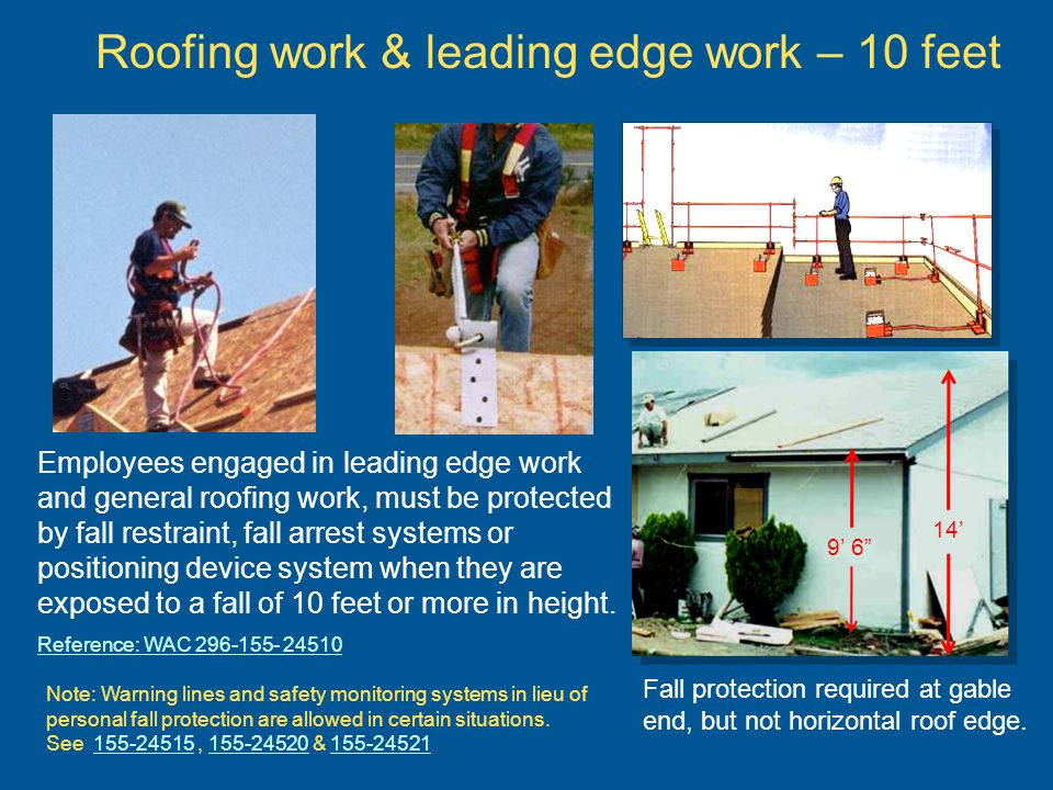 Steel Erection – fall protection at 10 feet Source: OSHA Reference: WAC 296-155-716 Leading edge control zones or perimeter safety cables are allowed on decking work.