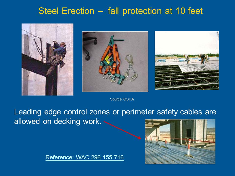 Scaffolding - 10 foot requirement Employees on a scaffold more than 10 feet above a lower level must be protected by either a personal fall arrest system or guardrails.