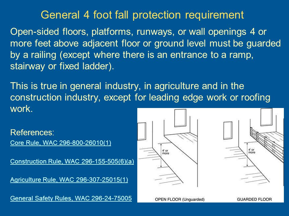 Specified 4 foot fall protection requirement Longshore/stevedoring – requires guardrails or an alternate method, such as nets, when employees are exposed to a fall of four or more feet from floor or wall openings or waterfront edges.