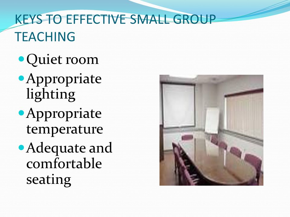 KEYS TO EFFECTIVE SMALL GROUP TEACHING Quiet room Appropriate lighting Appropriate temperature Adequate and comfortable seating