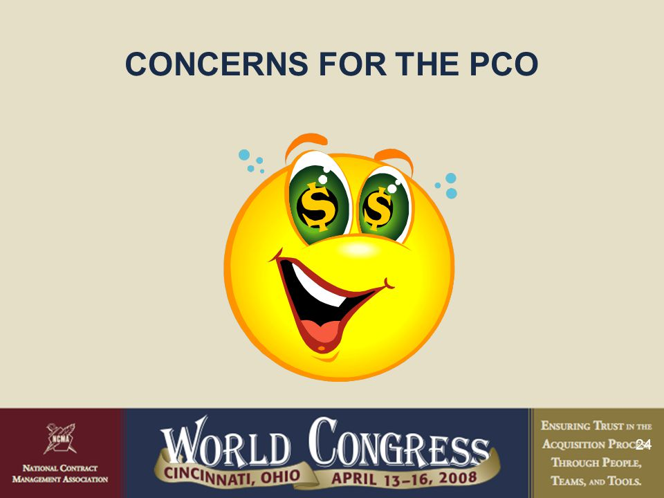 24 CONCERNS FOR THE PCO