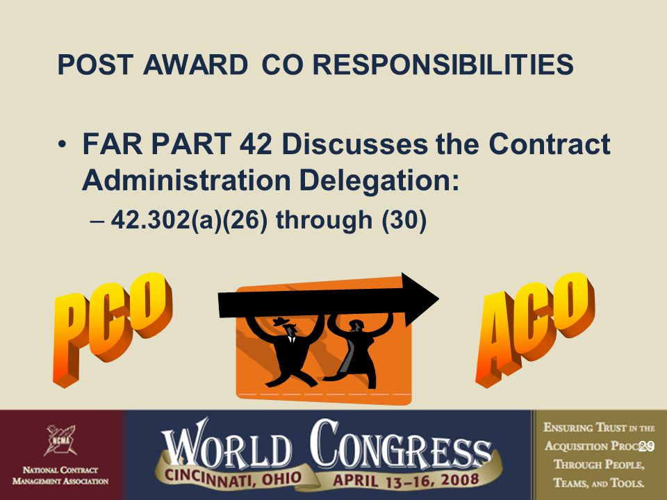 29 POST AWARD CO RESPONSIBILITIES FAR PART 42 Discusses the Contract Administration Delegation: –42.302(a)(26) through (30)