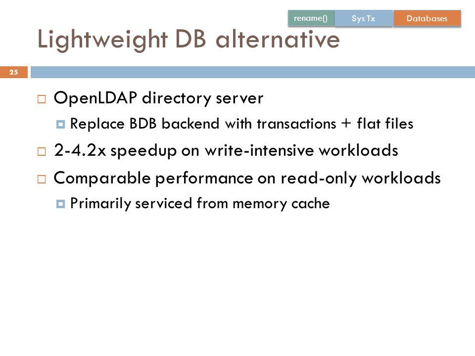 Lightweight DB alternative 25  OpenLDAP directory server  Replace BDB backend with transactions + flat files  2-4.2x speedup on write-intensive wor