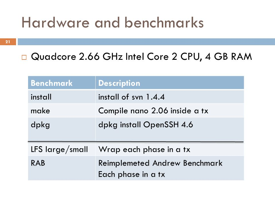 Hardware and benchmarks 21  Quadcore 2.66 GHz Intel Core 2 CPU, 4 GB RAM BenchmarkDescription installinstall of svn 1.4.4 makeCompile nano 2.06 inside a tx dpkgdpkg install OpenSSH 4.6 LFS large/smallWrap each phase in a tx RABReimplemeted Andrew Benchmark Each phase in a tx