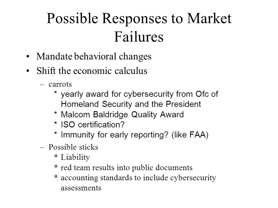 Issues raised by liability differentiating between infrastructure and end user for liability purposes (e.g., my program works on your operating system - how to allocate liability?) -holding infrastructure providers liable for economic damage is hard under current case law -uncorrelated damages mean that insurance model won't work